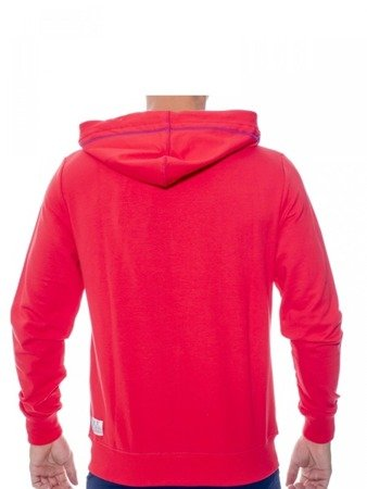 LEONE bluza męska na zamek z kapturem czerwona   M [LSM1658]