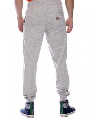 LEONE spodnie dresowe szary melanż L [LSM1660]